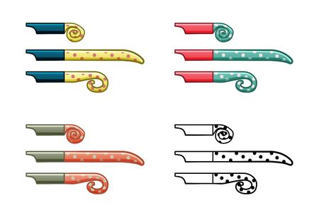 Party whistles set isolated illustration. Colored and graphic. White background, vector.
