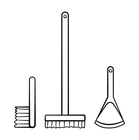 Mop, brush and dustpan for cleaning in black lines isolated illustration. White background, vector.
