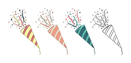 Confetti petards set isolated illustration for holiday party. Colored and graphic. White background, vector. Illustration