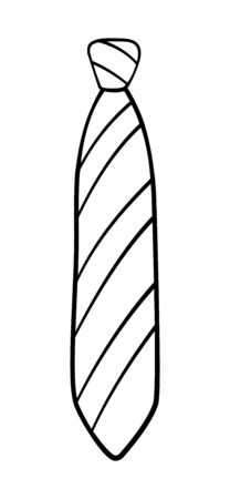 Simple knot necktie with stripes pattern in outline style isolated illustration. White background, vector.