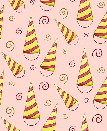 Yellow and red stripped paper holiday hats seamless pattern. Decoration for greeting card, wrapper and textile. Pink background, vector.