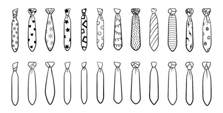 Outline style neckties with different knots and patterns big set isolated illustration. White background, vector.