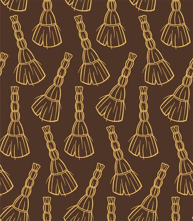 Outline style yellow besoms for cleaning seamless pattern. Decoration for wrapper. Brown background, vector. Illusztráció