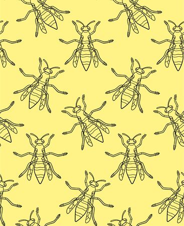 Top view outline style wasp seamless pattern. Decoration for greeting card, wrapper and textile. Yellow background, vector.
