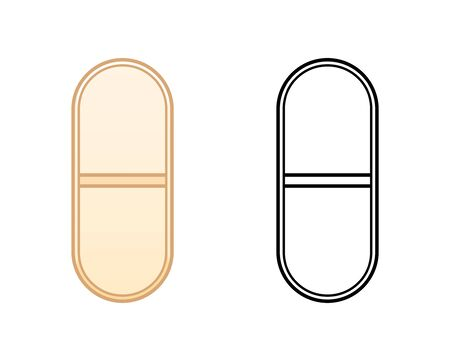 Flat and outline style oval pills isolated illustration. Colored and in black lines. White background, vector.