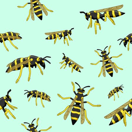 Wasps seamless pattern. Decoration for greeting card, wrapper and textile. Blue background, vector.