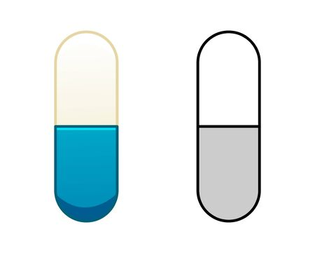 Flat and outline style oval capsule pills isolated illustration. Colored and in black lines. White background, vector. Ilustração