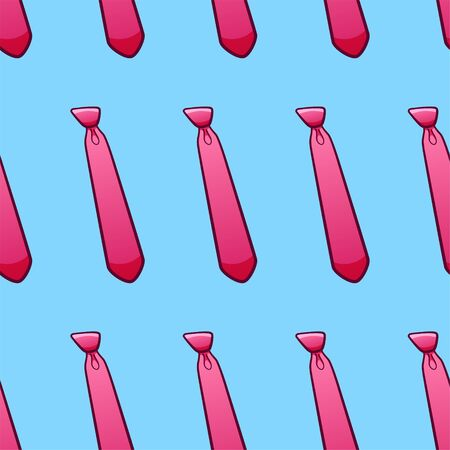 Pink neckties seamless pattern. Decoration for greeting card, wrapper and textile. Blue background, vector.