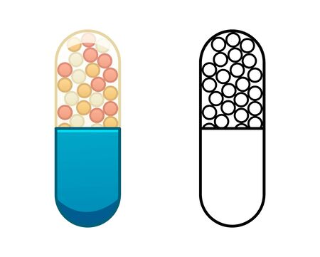 Flat and outline style oval capsule pills isolated illustration. Colored and in black lines. White background, vector.