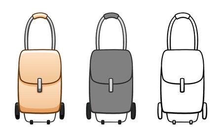 Cartoon, simple and outline style rolling bags set isolated illustration. Bags for shopping and tourism. White background, vector.