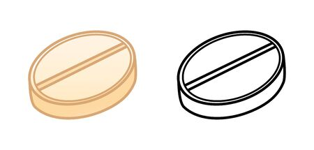 Flat and outline style round pills isolated illustration. Colored and in black lines. White background, vector.