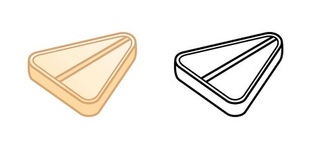 Flat and outline style triangle pills isolated illustration. Colored and in black lines. White background, vector.