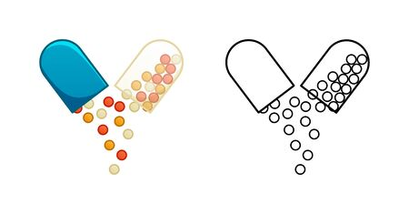 Flat and outline style opened oval capsule pills isolated illustration. Colored and in black lines. White background, vector. Ilustração