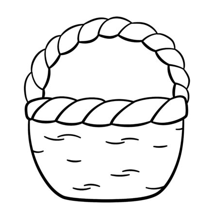 Outline style basket isolated illustration. White background, vector.