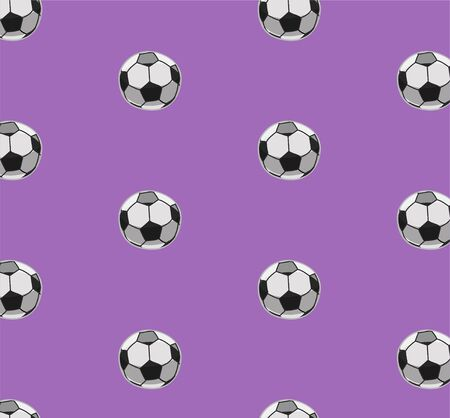 Seamless pattern with soccer balls. Purple background, vector.