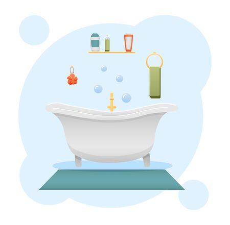 Bathroom interior. Shower gel, sponge, shampoo, bathtub, towel, carpet and faucet. Blue decorative background, vector. Illustration