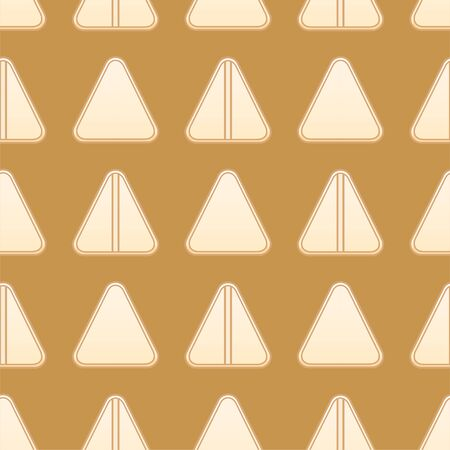Flat style triangle beige pills seamless pattern. Mustard background, vector.
