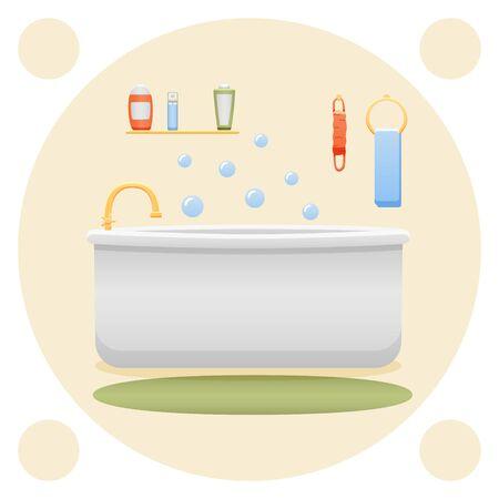 Bathroom interior. Shower gel, sponge, shampoo, bathtub, towel, carpet and faucet. Yellow decorative background, vector. Ilustração