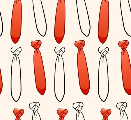 Orange and black outline style neckties seamless pattern. Decoration for greeting card, wrapper and textile. Beige background, vector.