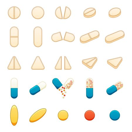Different pills big set isolated illustration on white background. Round, oval, triangle, capsule, fish oil tablets. White background, vector.