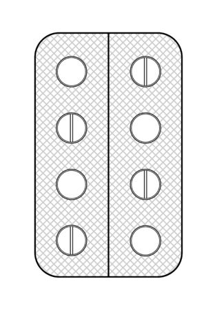 Outline style blister with round pills isolated illustration. White background, vector. Stock Illustratie
