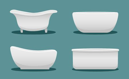 Side view bathtubs of different shape set isolated illustration. Blue background, vector.