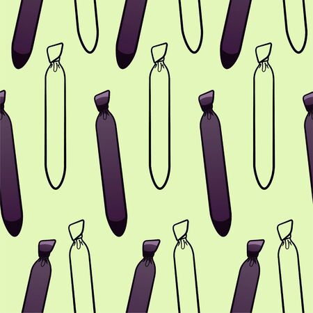 Purple and black outline style neckties seamless pattern. Decoration for greeting card, wrapper and textile. Green background, vector. Ilustração