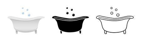 Side view bathtubs set in different styles isolated illustration. White background, vector. Ilustração