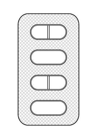 Outline style blister with oval pills isolated illustration. White background, vector. Ilustração