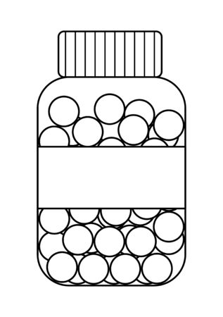 Outline style plastic bottle with round fish oil pills isolated illustration. White background, vector.