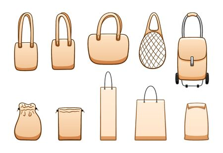 Different beige bags big set isolated illustration. Eco, mesh, rolling, paper bag. White background, vector.