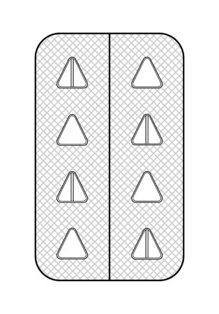 Outline style blister with triangle pills isolated illustration. White background, vector. Ilustração