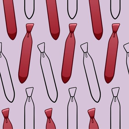 Red and black outline style neckties seamless pattern. Decoration for greeting card, wrapper and textile. Purple background, vector.