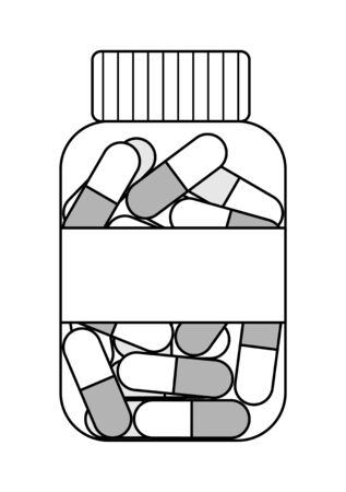 Outline style plastic transparent bottle with oval capsule pills isolated illustration. White background, vector.