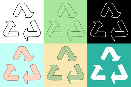 Recycle symbols set. Different color backgrounds, vector illustration.