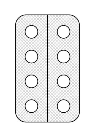 Outline style blister with round pills isolated illustration. White background, vector. Ilustração
