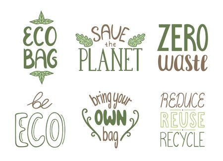 Set of motivational eco friendly quotes. Ecology handdrawn letterings. Vector isolated illustration on white background.