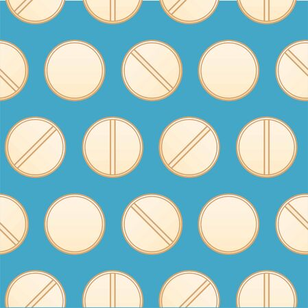 Flat style round beige pills seamless pattern. Blue background, vector. Ilustração