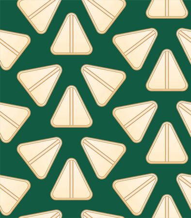 Flat style triangle beige pills seamless pattern. Green background, vector.