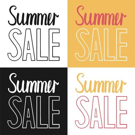 Summer sale letterings set in different color vector illustration. Inscription for banners, posters, labels. Ilustração