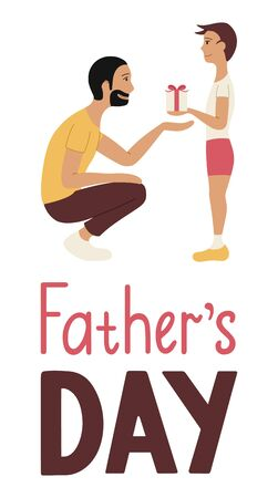 Father and son. Receiving a gift. Father's day lettering. Illustration for greeting card, banner, poster. White background, vector. Ilustração