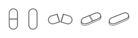Outline style oval pills set isolated illustration. Whole, broken and tilted tablets. White background, vector. Ilustração