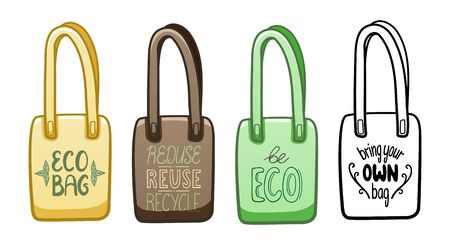 Multicolored textile eco bags with motivational ecology letterings set isolated illustration. Reduce, reuse, recycle, be eco, bring your own bag inscriptions. White background, vector.