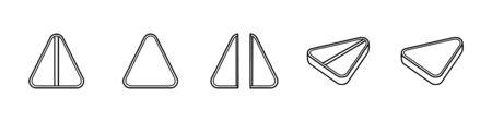 Outline style triangle pills set isolated illustration. Whole, broken and tilted tablets. White background, vector. Ilustração