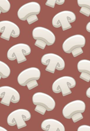 Champignon seamless pattern. Print for textile, decor, site. Red background, vector. 向量圖像