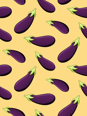 Eggplants seamless pattern. Print for textile, decor, site. Yellow background, vector.