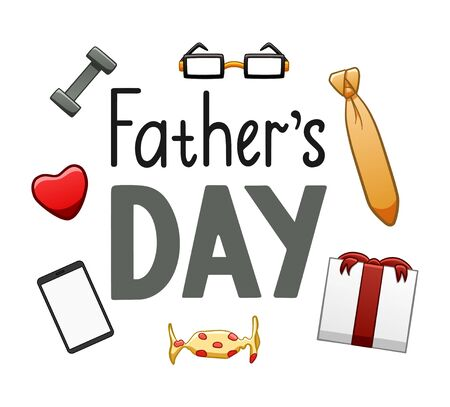 Father's Day lettering with glasses, candy, heart, necktie, kettlebell, tablet and giftbox decoration. Inscription for greeting card, banner, poster. White background, vector isolated illustration.