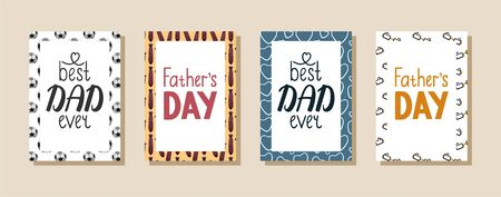 Set of greeting cards with letterings for Father's day. Design with football balls, neckties, hearts and glasses pattern. Best dad ever inscription.