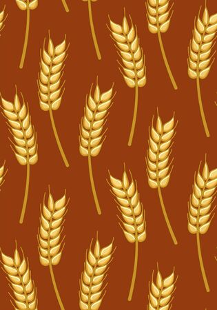 Wheat seamless pattern. Print for textile, decor, site. Brown background, vector. 向量圖像