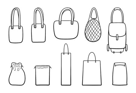 Different outline style bags big set isolated illustration. Eco, mesh, rolling, paper bag. White background, vector.